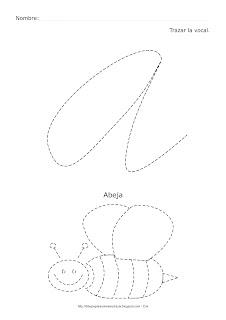 Dibujo de la vocal A de abeja para trazar