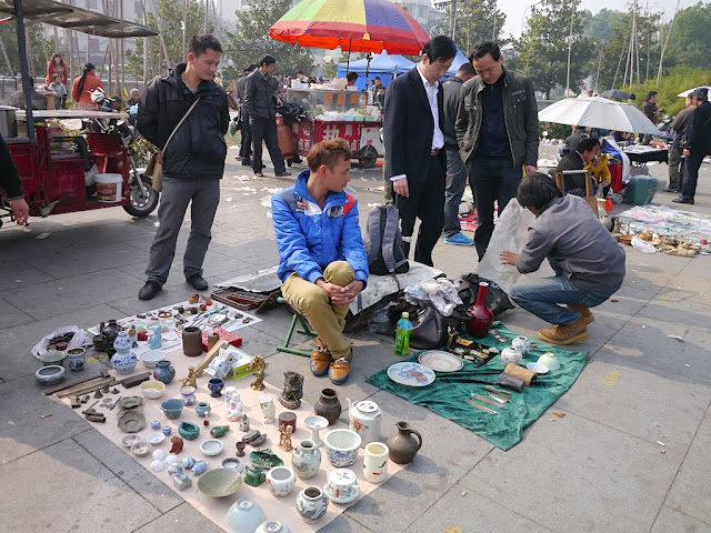 at an outdoor antique market in Changsha, China