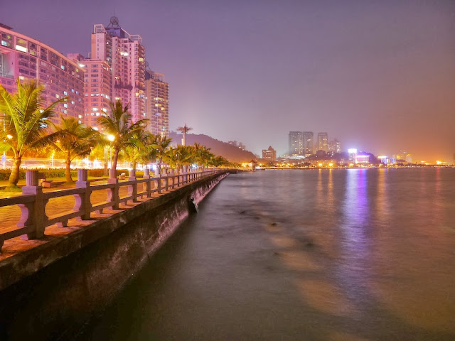 waterside night scene in Gongbei, Zhuhai, China