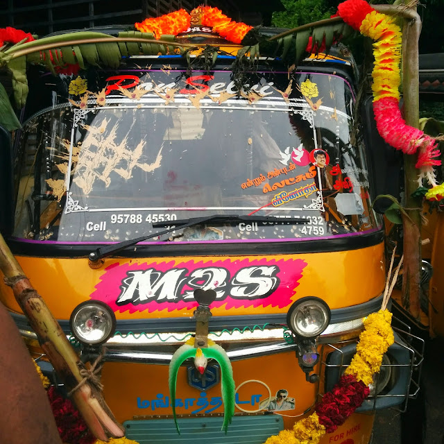 Colorful Auto Rickshaw on Ayudha Puja Day
