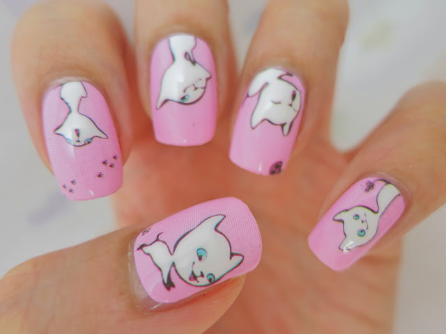 White Kitty Cat Nail Wrap Nail Art A1029