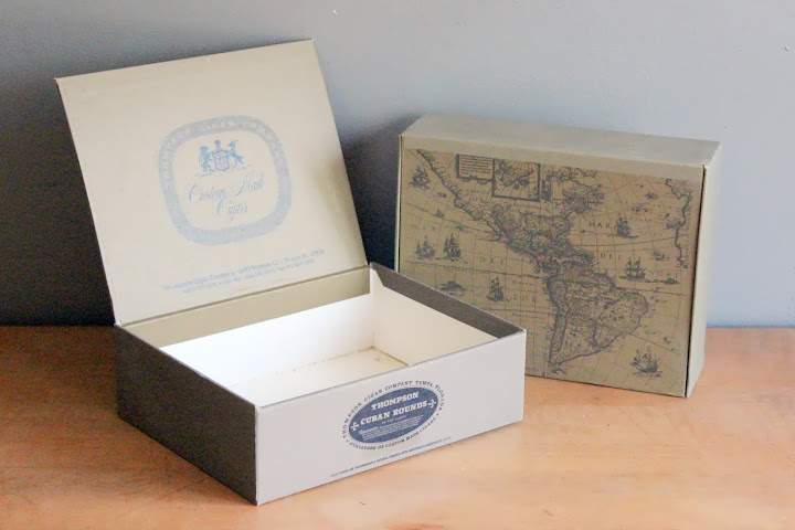 Thompson cigar boxes available for rent from www.momentarilyyours.com, $1.50 each.