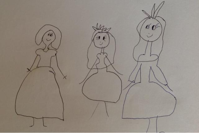 5-vuotiaan lapsen piirustus kolmesta ystävyksestä - 5-year-old child's drawing of 3 friends