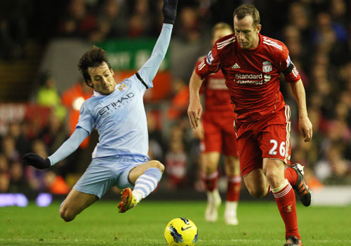 David Silva with Charlie Adam, Liverpool - Manchester City