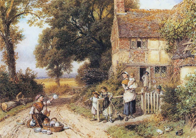 Myles Birket Foster - The China Peddler.