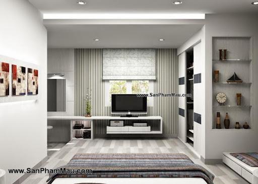 Thiết kế tủ tường cho phòng ngủ rộng