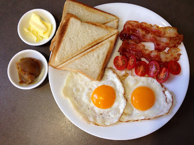 Lazy Sunday Easy Breakfast Bread Bacon Eggs and Butter