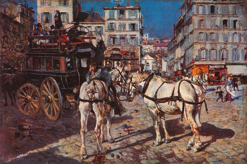Giovanni Boldini - Omnibus in place Pigalle a Parigi