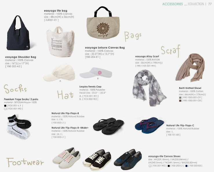 easyoga 瑜珈側背袋-B(YBE-202-A2) EASYOGA 生活袋( ZJE001 -E1  ) 麻布購物袋(ybe-204-e1) 渲染針織圍巾(YRE-1103-301-W4) 專業止滑鈦能量瑜珈襪(yge-001) 瑜珈生活概念Y型拖鞋(yse-002)