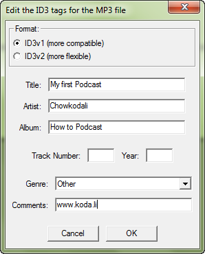 Audacity ID3 tags info for MP3 file