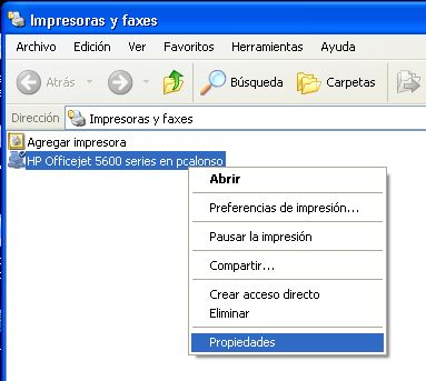 Instalar impresora compartida en red desde equipo con Windows XP