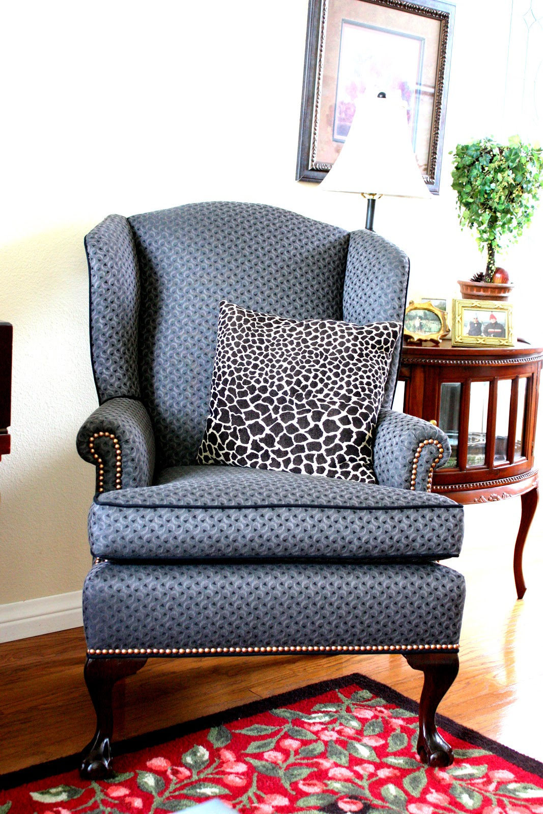 Balanced style reupholstered antique wingback chairs - How to reupholster a living room chair ...