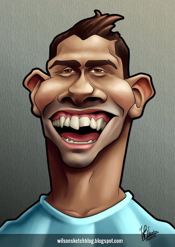 Caricature of Carlitos Tévez.