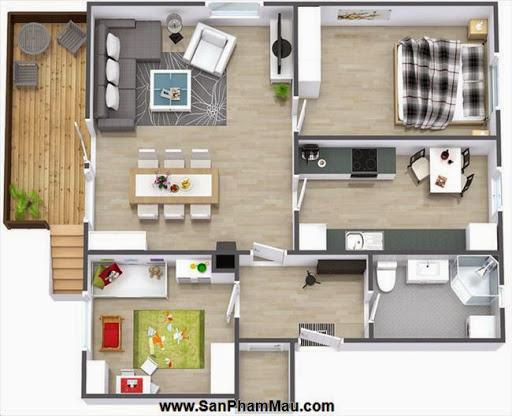Phương án thiết kế mặt bằng có 2 phòng ngủ đẹp - Tủ âm tường-7