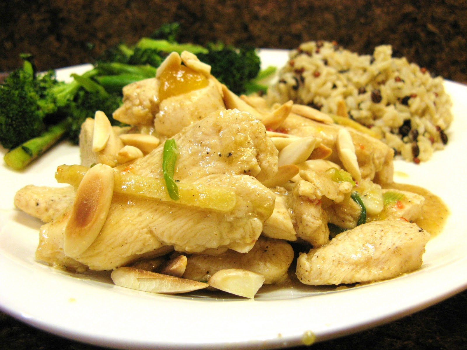 The Well-Fed Newlyweds: Mango Ginger Chicken with Almonds