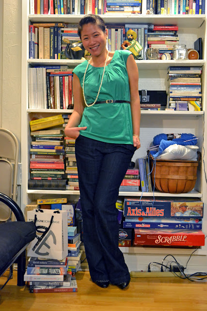 sacramento office fashion blogger angeline evans the new professional blog business casual trouser jean target merona ann taylor top anne klein mary janes premier designs pearls