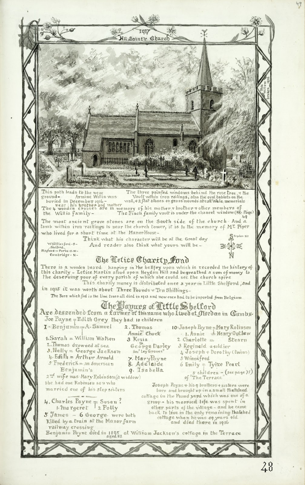 A Record of Shelford Parva by Fanny Wale P48 fo. 49, page 48: 1917 All Saints Church: A black and white watercolour picture of north side of All Saints Church. An explanation of the Lettice charity fund and a description of the Paynes of Little Shelford with a family tree.  [fo.46]