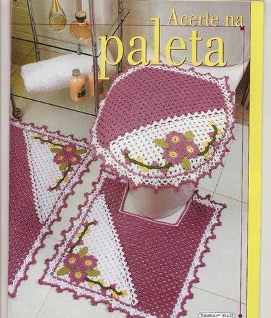 Jogo de Banheiro em Crochê Rosa e Branco - com gráficos com ótima ...