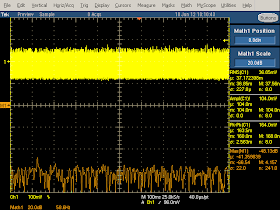 Low frequency oscilloscope trace from Monoprice USB charger