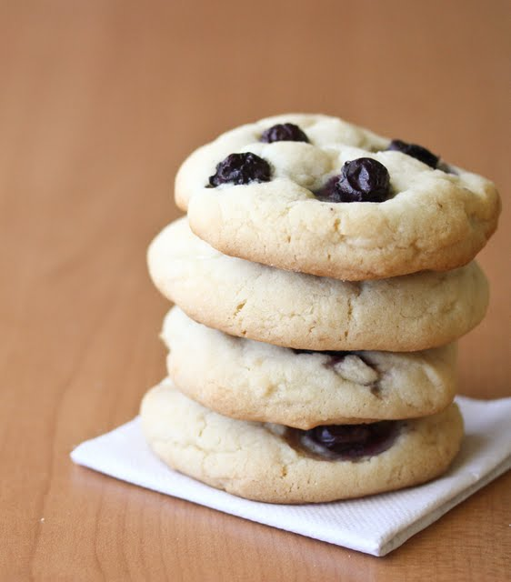 a stack of blueberry cheesecake cookies