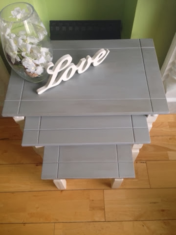 Claire S Shabby Chic Painting Mexican Pine Nest Of Tables