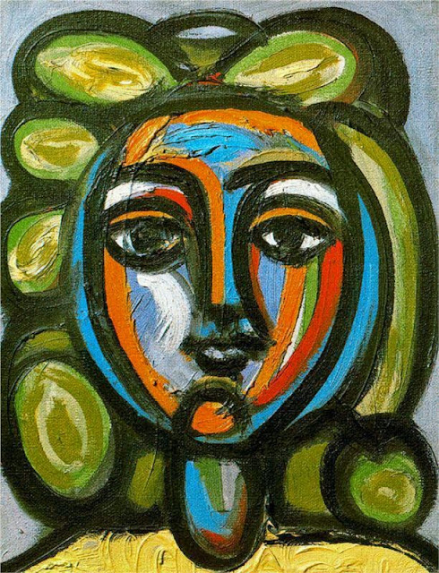 Pablo Picasso - Head of a woman with green curls, 1946