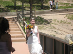 Closer now with bouquet in hand
