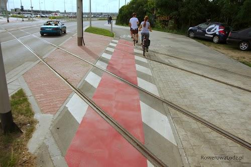 Przejazd rowerowy przez torowisko.