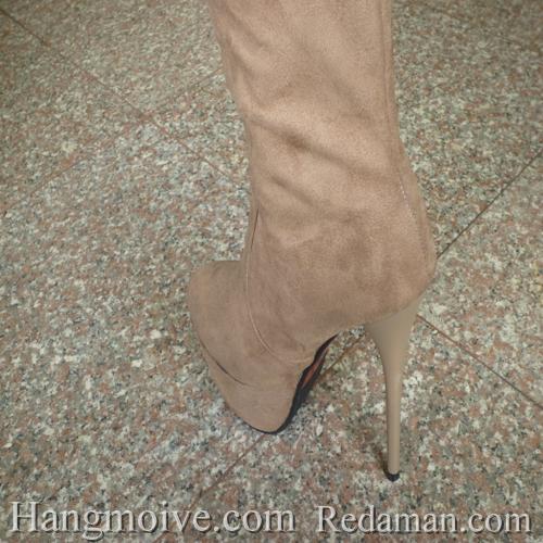 Boots cao cổ quá đầu gối, da lộn, gót nhọn, màu be 5 - Chỉ với 1.090.000đ