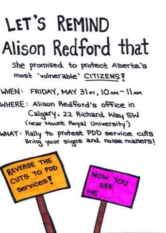 Let's remind Alison Redford that she promised to protest Alberta's most vulnerable
