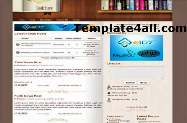 Books Shop Wooden Jquery E107 Theme Template