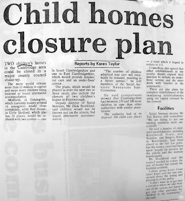 Newspaper cutting about then-then Children's Home at Red House, Newton Road, Little Shelford