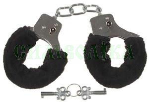 MFH Кайданки з двома ключами хром в чорному кожусі:29353