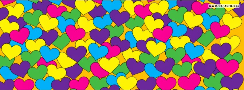 Capas para Facebook Corações Coloridos