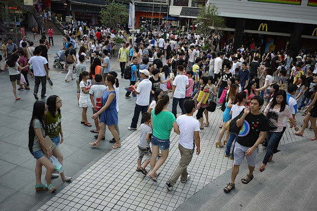 crowds at Dongmen shopping area in Shenzhen, China
