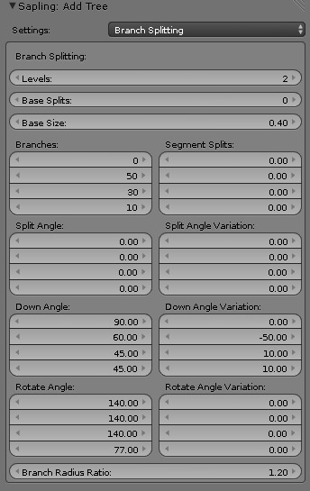 blender sapling branch splitting menu