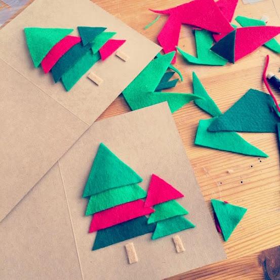 Cartão de árvore de Natal de feltro