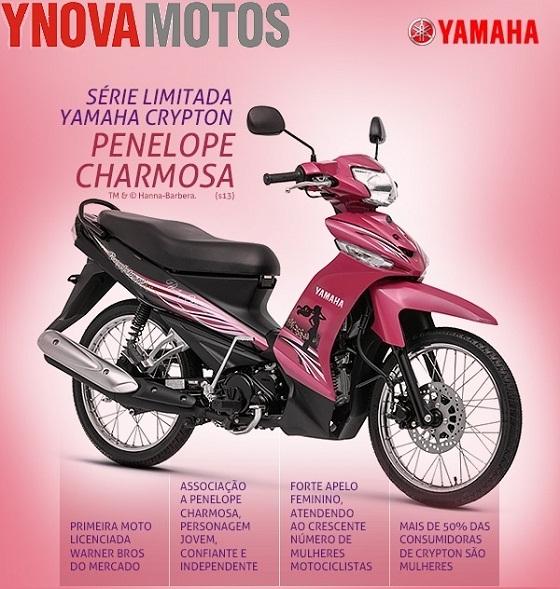 Moto cor de rosa da Penelope Charmosa - Yamaha