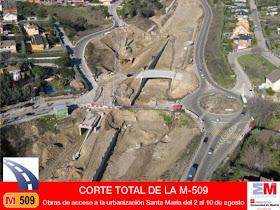 La M-509 permanecerá cortada por obras de acceso a la urbanización Santa María