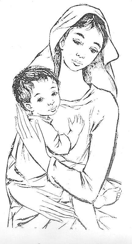 Virgin Marie Queen of peace coloring pages