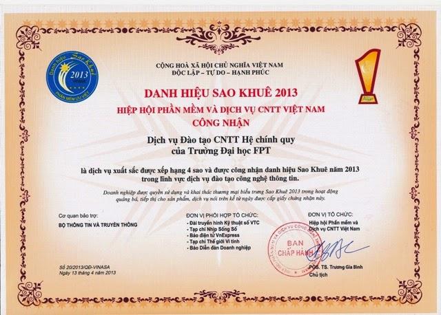 Giấy chứng nhận giải thưởng Sao Khuê 2013 của Cao đẳng thực hành FPT Polytechnic