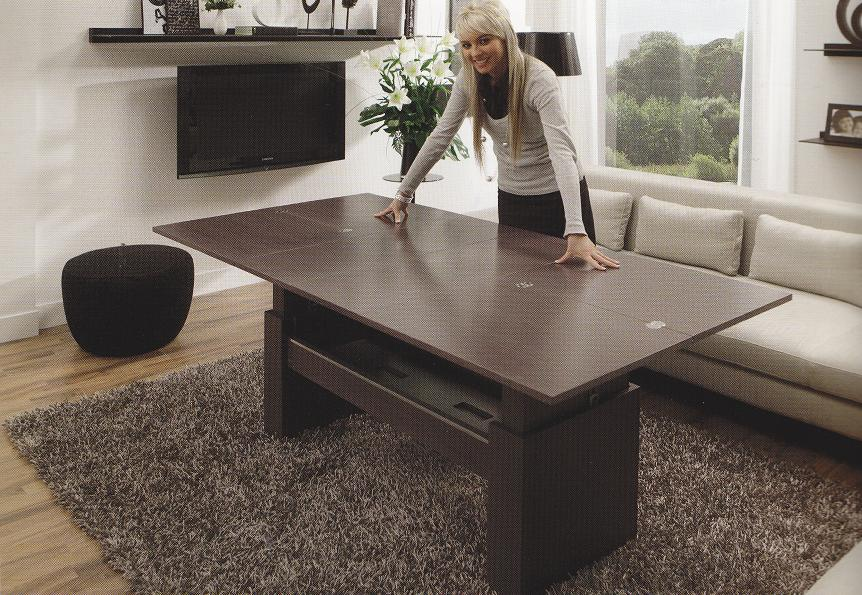 Mesa de centro convertible elevable y extensible a comedor for Mesa de centro elevable y extensible