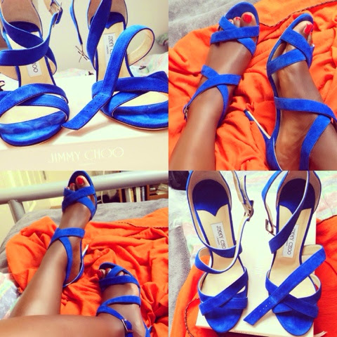blue suede Jimmy Choo Lottie Sandals