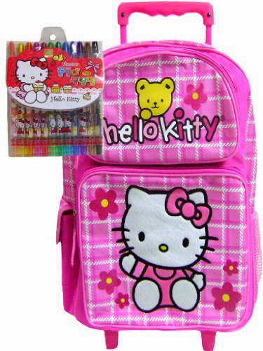 1328474e4 New Hello Kitty Rolling Backpack Pink & Twistable Crayons Pack ...