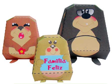 Happy Critter Family Paper Toys
