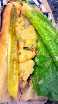 Addy's Sandwich Bar - chickpea spread + pickles + romaine sandwich on Little T Bakery baguette