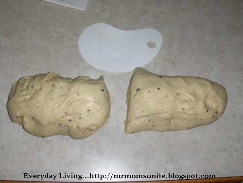 photo of the dough divided
