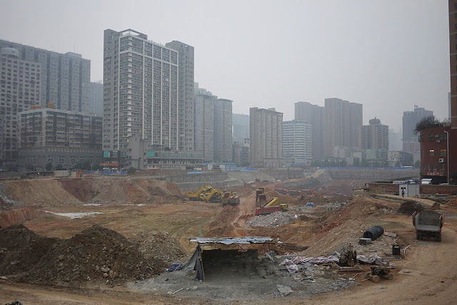 Construction site for the Changsha International Financial Square (IFS) in 2012