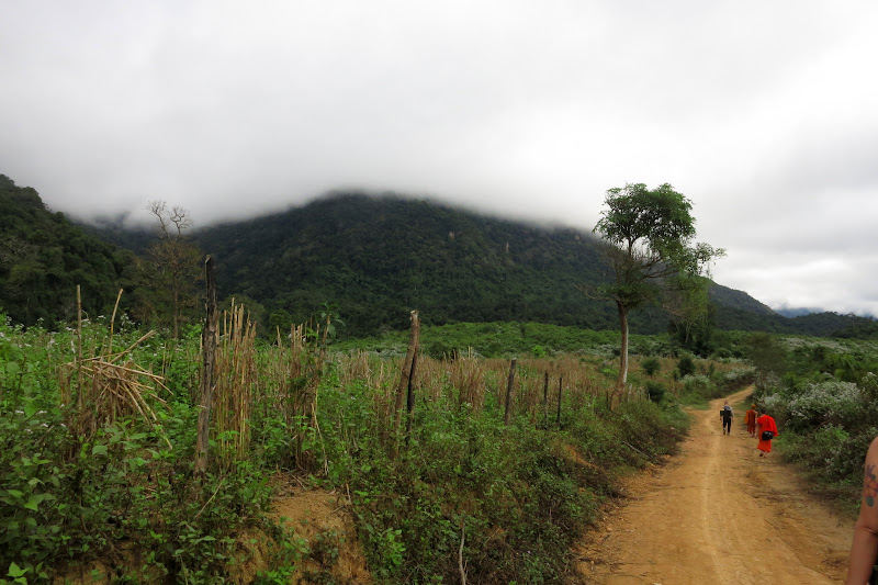 Starting the hike to Monk K's father's village