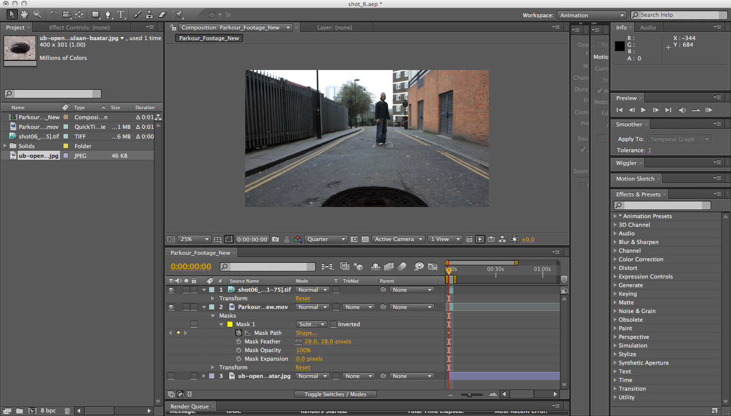 after effects how to cut imported footage